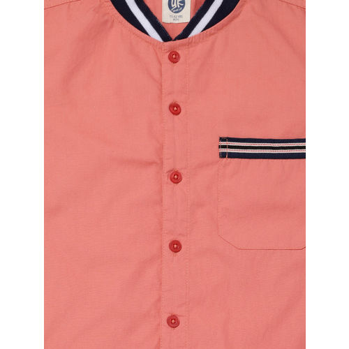 YK Boys Coral Red Regular Fit Solid Casual Shirt