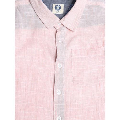 YK Boys Peach-Coloured Regular Fit Solid Casual Shirt