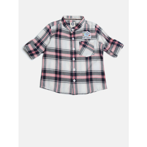 YK Boys Off-White & Pink Regular Fit Checked Casual Shirt