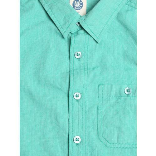 YK Boys Green Regular Fit Solid Casual Shirt