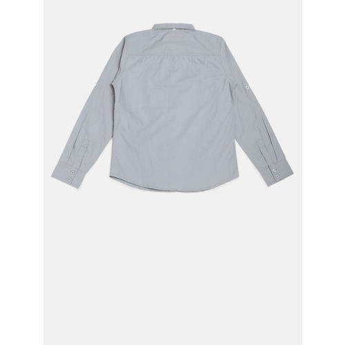 YK Boys Grey Regular Fit Printed Casual Shirt with Ultra Fresh Protection
