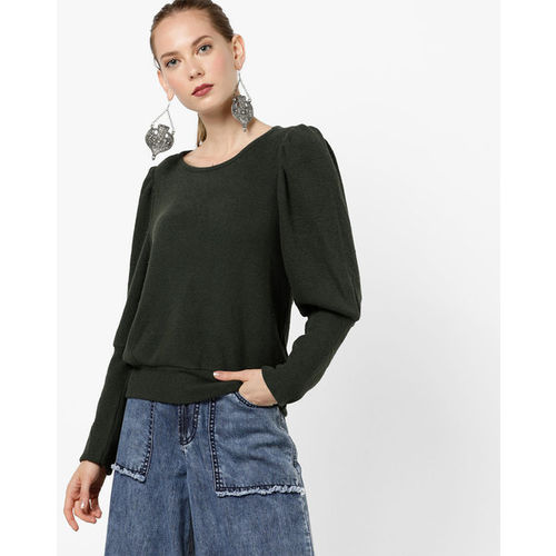 8635a9a1c13400 Buy AJIO Ribbed Top with Leg-O-Mutton Sleeves online