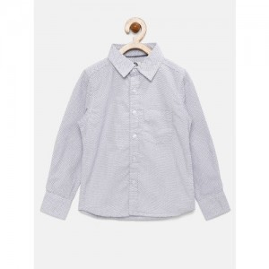 YK Boys White Regular Fit Printed Casual Shirt
