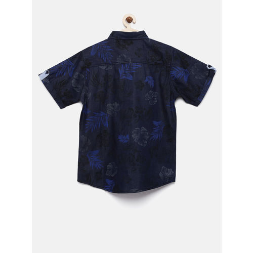 YK Boys Navy Blue Regular Fit Printed Casual Shirt