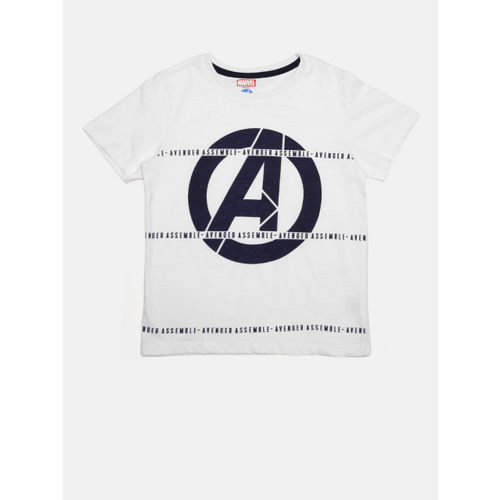 YK Boys White & Navy Printed Round Neck T-shirt