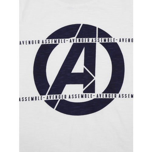 YK Boys White & Navy Printed Round Neck T-shirt