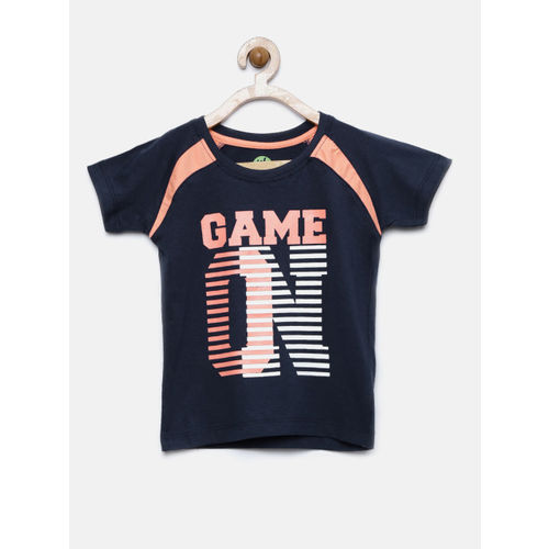 YK Boys Navy Printed Round Neck T-shirt