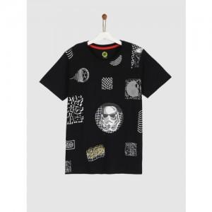 YK Boys Black Printed Round Neck T-shirt
