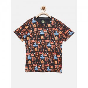 YK Boys Multicoloured Printed Round Neck T-shirt