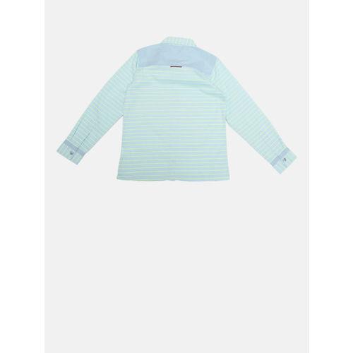 YK Boys Blue & Fluorescent Green Regular Fit Striped Casual Shirt