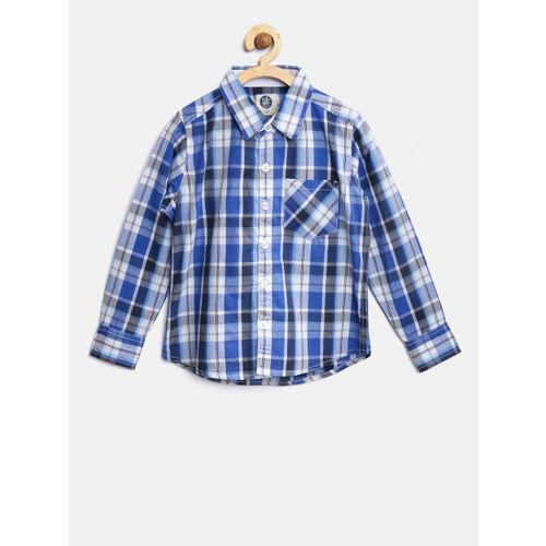 YK Boys Blue & White Checked Casual Shirt