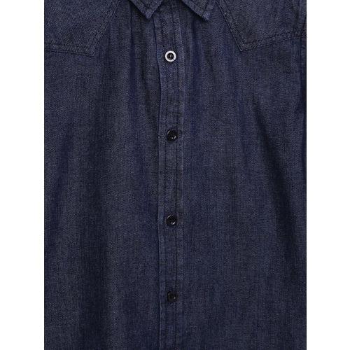 YK Boys Blue Solid Denim Casual Shirt