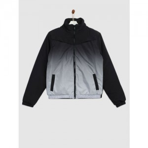YK Boys Black Colourblocked Padded Jacket