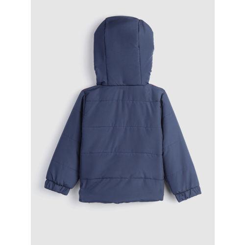 YK Boys Navy & Red Colourblocked Hooded Padded Jacket