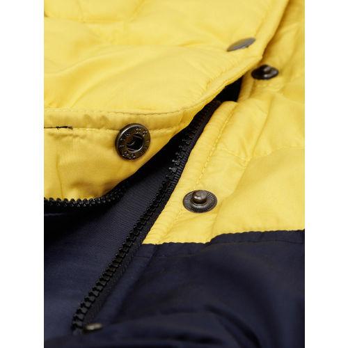 YK Boys Yellow & Navy Colourblocked Padded Jacket
