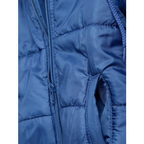 YK Boys Blue Solid Hooded Padded Jacket
