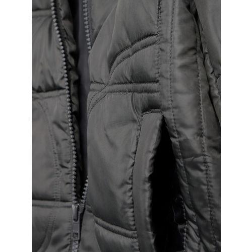 YK Boys Charcoal Grey Solid Padded Jacket