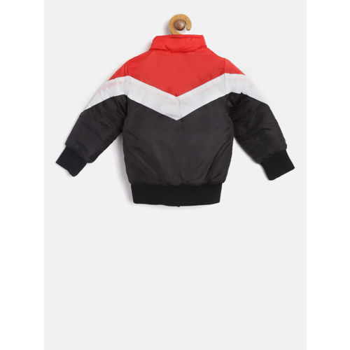 YK Boys Black & Red Colourblocked Bomber Jacket