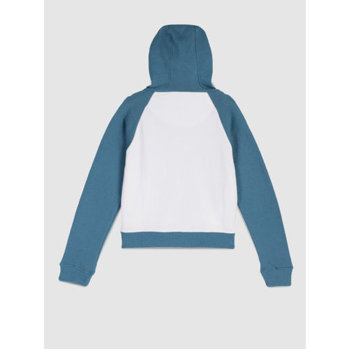 YK Boys Blue & White Printed Hooded Sweatshirt