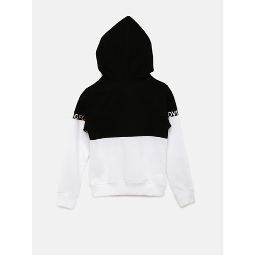 YK Boys White & Black Colourblocked Hooded Sweatshirt