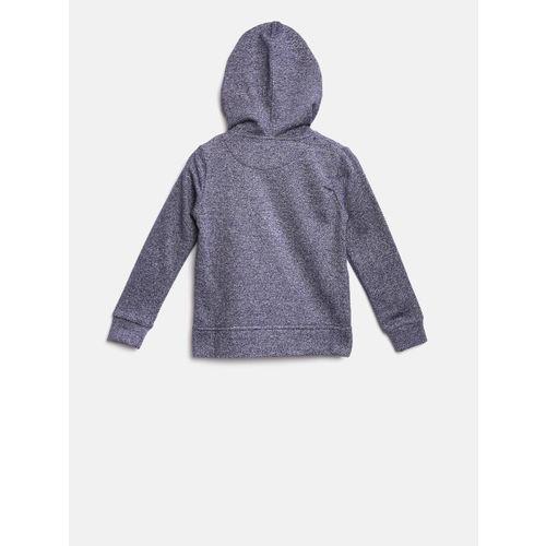 YK Boys Blue Solid Hooded Applique Sweatshirt