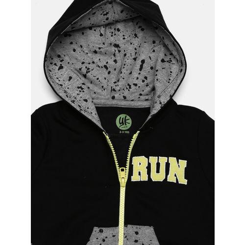YK Boys Grey & Black Printed Hooded Sweatshirt