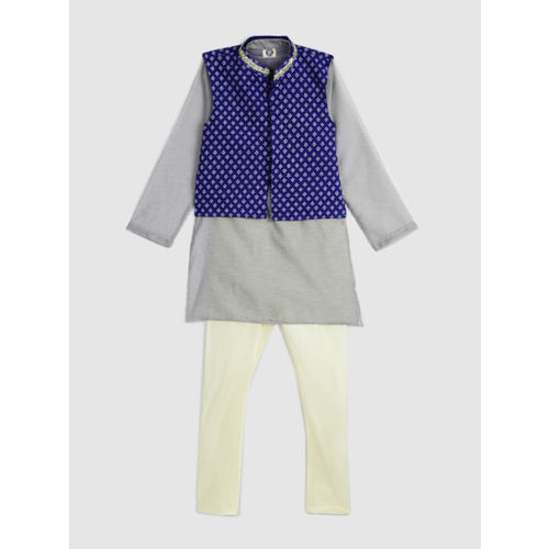 YK Boys Grey & Blue Printed Kurta Set with Nehru Jacket