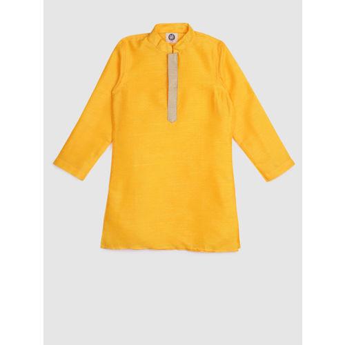 YK Boys Yellow & Blue Solid Kurta with Pyjamas