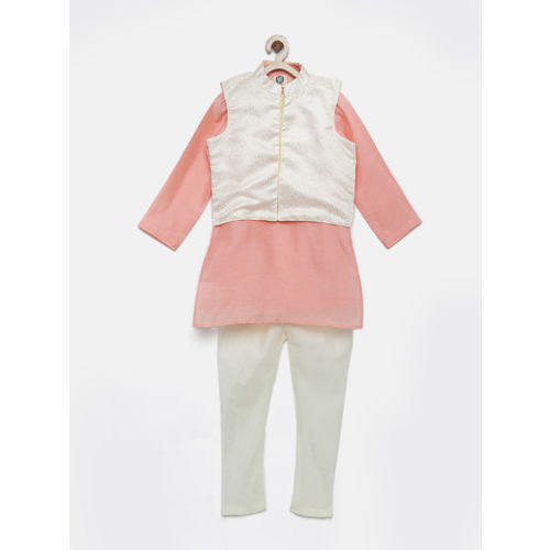 YK Boys Peach & Cream-Coloured Kurta Pyjama Set with Waistcoat
