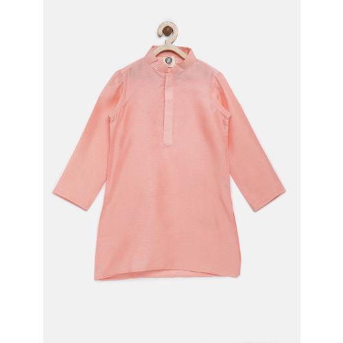 YK Boys Peach & Cream-Coloured Kurta Pyjama Set with Waistcoat