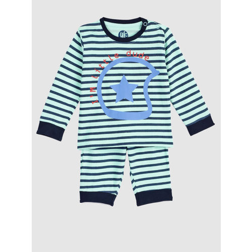 YK Boys Blue and Green Striped Night suit