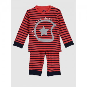 YK Boys Red and Black Striped Night suit
