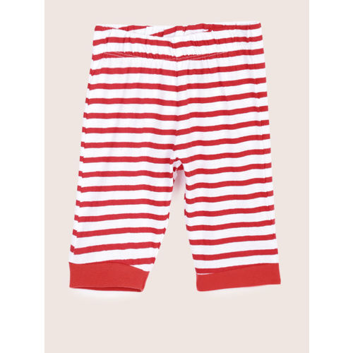 YK Boys White & Red Striped Night suit