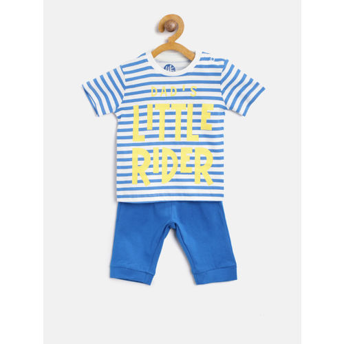 YK Boys White & Blue Striped Night Suit with Printed Detail 118YKKSLD490021