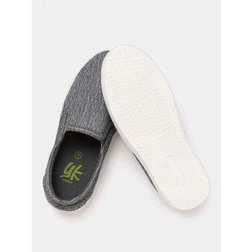 YK Boys Grey Woven Design Slip-On Sneakers
