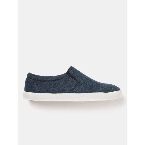 YK Boys Navy Blue Canvas Denim Slip-On Sneakers