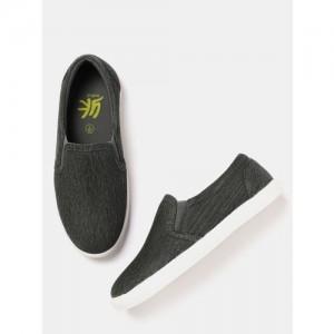 YK Boys Charcoal Grey Slip-On Sneakers