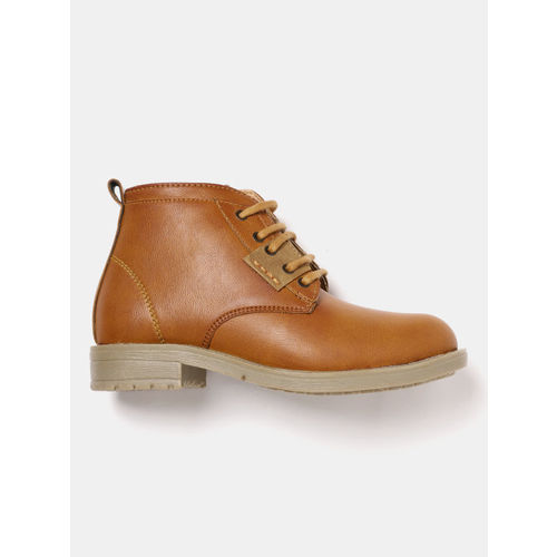 YK Boys Tan Brown Solid Mid-Top Flat Boots