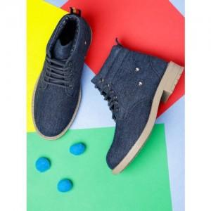 YK Boys Navy Blue Solid Denim Mid-Top Flat Boots