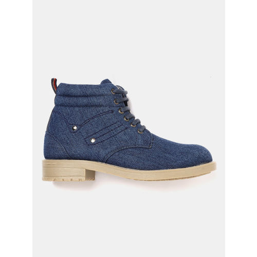 YK Boys Navy Blue Solid Denim Mid-Top Flat Boots