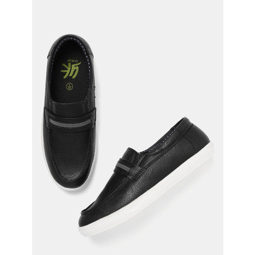 YK Boys Black Synthetic Slip-On Sneakers