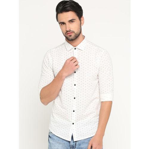 SHOWOFF Men White & Black Slim Fit Printed Casual Shirt