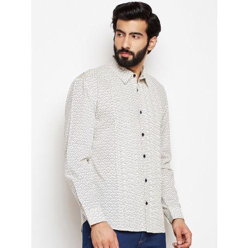 Oxolloxo Men Black Regular Fit Abstract Printed Casual Shirt