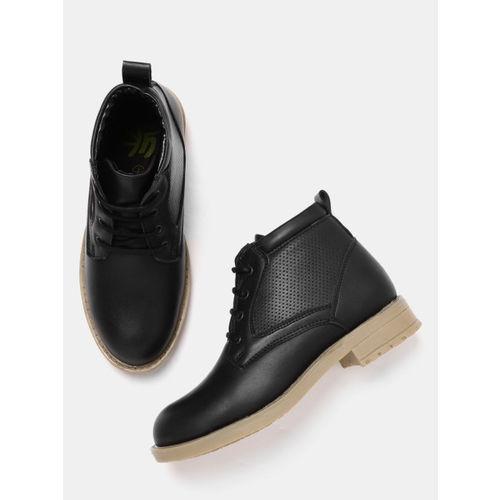 YK Boys Black Synthetic Mid-Top Flat Boots