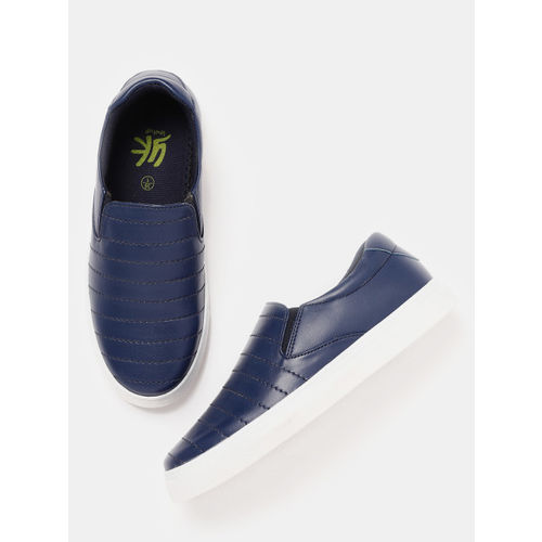 YK Boys Navy Blue Striped Slip-On Sneakers