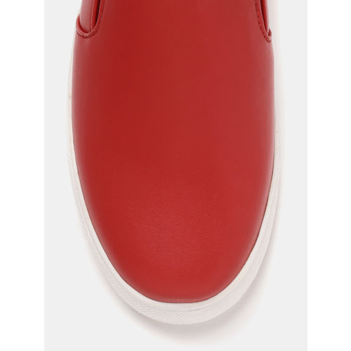 YK Boys Red Synthetic Slip-On Sneakers