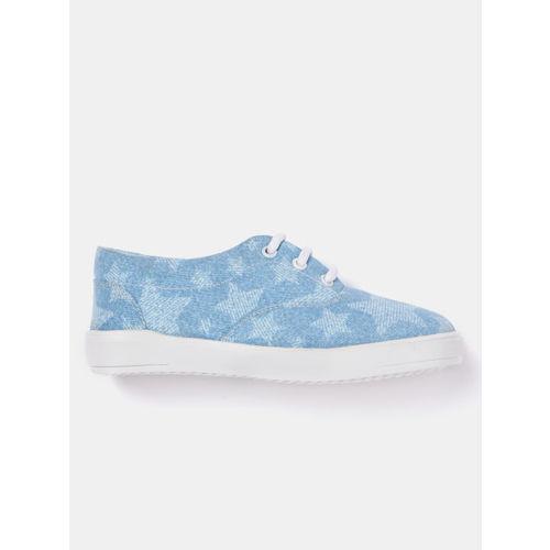 YK Boys Blue Printed Denim Sneakers