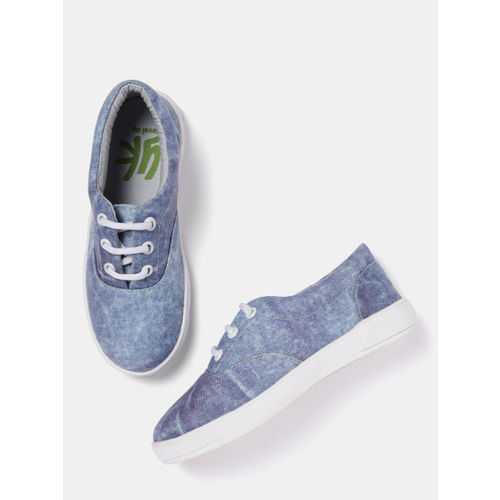 YK Boys Blue Synthetic Washed Denim Sneakers