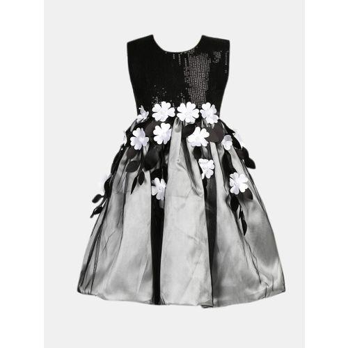 YK Girls Black Embellished Fit and Flare Dress
