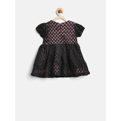 YK Baby Girls Black Embroidered Net Fit & Flare Dress